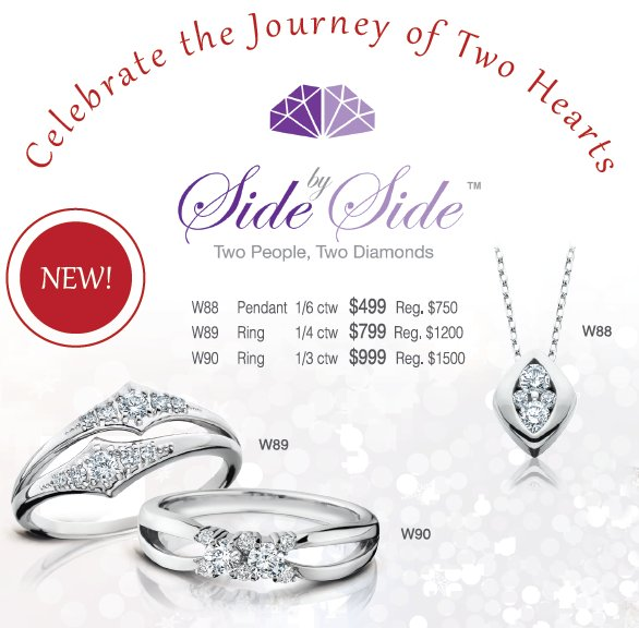 Side By Side Diamond Rings and Pendants